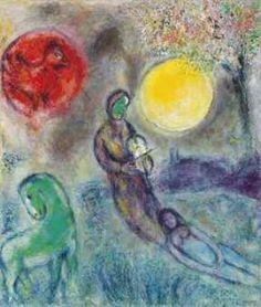 Le violoniste sous la lune,   Oil on canvas,  53 1/8 x 44¾ in.