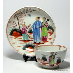 """New Hall The Boy and Butterfly Tea Bowl and Saucer  This is hard paste porcelain and dates to 1790-95. Both pieces bear New Hall decorators marks to the base.  Excellent condition. We also have a part tea service available in the same pattern. The pattern is illustrated in Holgate """" New Hall and its Imitators"""" plate 101."""