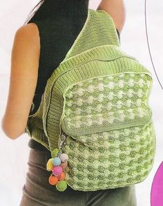 Picture only: crochet backpack Crochet Handbags, Crochet Purses, Crochet Bags, Crochet Cross, Knit Or Crochet, Crochet Backpack Pattern, Mochila Crochet, Pencil Bags, Knitted Bags