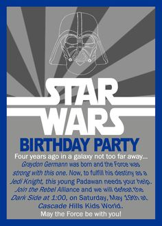 Star Wars Birthday Invitation by GrayciousDesigns on Etsy, $10.00