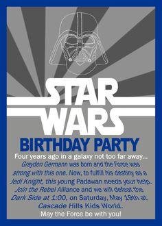 Star Wars Birthday Invitation by GrayciousDesigns on Etsy, $10.00