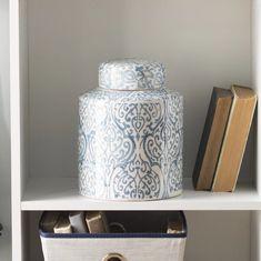 Sabin Storage Jar & Reviews | Birch Lane Ceramic Jars, Ceramic Table, Farmhouse Vases, Rustic Vases, Traditional Vases, Tabletop Clocks, Jar Storage, Food Storage, Recycled Glass