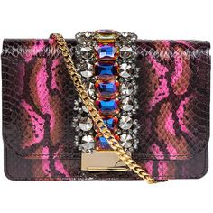 Gedebe Snake Skin Prnt Embellished Clutch Bag (£530) ❤ liked on Polyvore featuring bags, handbags, clutches, the label monster, violet, embellished purses, embellished handbags, snakeskin handbags, snakeskin purse and snakeskin clutches