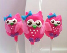pink owl cake pops
