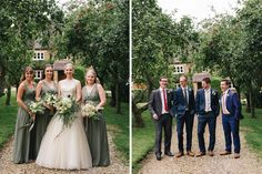 Alex's bridesmaids wore an elegant green colour which suited them all beautifully.   Modern Rustic Wedding at Dodmoor House, Northamptonshire