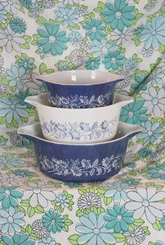 Pyrex Colonial Mist Casserole 3 Piece Set  475 by littletreasuresv, $25.00