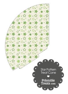 Vintage Green Star Pattern Treat Cone from PrintableTreats.com
