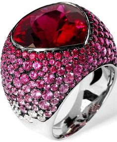 """Ring """"Riviera"""" in gold with rubellite tourmaline, sapphire and diamond by Mousson Atelier Star Jewelry, High Jewelry, Jewelry Accessories, Jewelry Design, Tourmaline Jewelry, Gemstone Jewelry, International Jewelry, Ring Earrings, Jewelry Trends"""