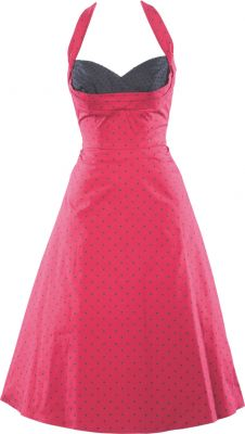 Celebrity 1950's dress in Red & black Dots, Halter Top - Stop Staring! Clothing