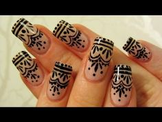 Easy Henna Tattoo Inspired Design Nail Art Tutorial