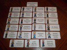 23 Popular Children's Authors Flash Cards.  Preschool thru Second Grade educational learning activity.