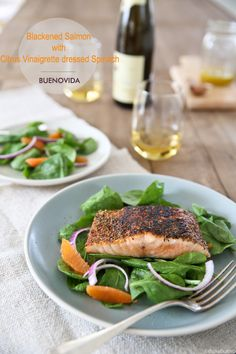 Blackened Salmon with Citrus Vinaigrette dressed Spinach
