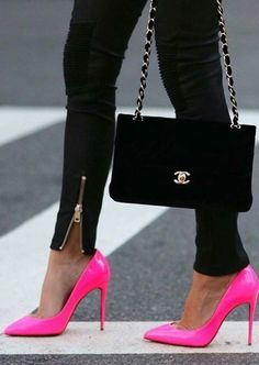 Neon Pink Heels + Black                                                                             Source