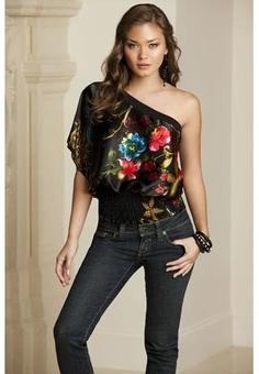 I obviously dig one shoulder tops.  :)  Floral Print One Shoulder Top, Body Central.  Body Central has cute stuff!