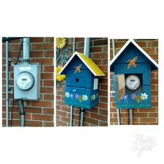 This was one of this years projects. I have an electric meter right in the middle of the patio that I wanted to hide so I made up this fake birdhouse cover for it out of some scrap wood I had in the garage. I'm pleased with it, better than that ugly meter.