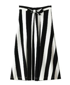 Mono Vertical Stripe Skirt with Bow