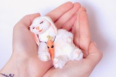 Bunny Art Doll. Collectible toy. # (Dolls animals clay sculpture Kawaii rabbit collectibles toy fantasy Hendmade ART Doll Deccor poseable OOAK Bunny polymer clay Dolls ) Approximately 4,7 inch (12 cm) - Completely handmade - Made from Faux Fur. - Glass eyes. - Solid parts are made of