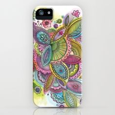 Fairground Paisley iPhone & iPod Case by Sarah Travis - $35.00 Pretty swirly floral paisley in candy colours. Cerise, lime, lemon, turquoise, lilac and sugar pink with fine black in outlines. Watercolour and ink. Home, style, art, design, gifts.