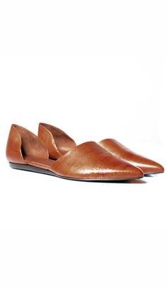 """Gold lizard leather pointed toe d'orsay flat. Seam at vamp. Heel 1/2"""" (12 mm). Made in Italy.CAN'T FIND YOUR SIZE OR COLOR"""