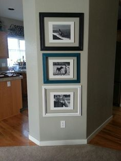 Glue photos to canvas with spray craft glue and hang floating inside frames. #thankscatherine