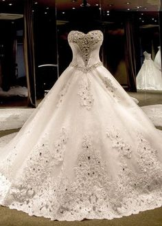 Ball Gown Wedding Dresses : Luxury Ball Gown Wedding Dresses Crystals Lace-up Back Cathedral Train Bridal Go
