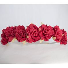 Floral Crown Flower Headband Hairband Red Ruffle Roses Wedding... ($13) ❤ liked on Polyvore featuring accessories, hair accessories, flower crown headband, red flower crown, bridal flower hair accessories, floral garland and flower garland