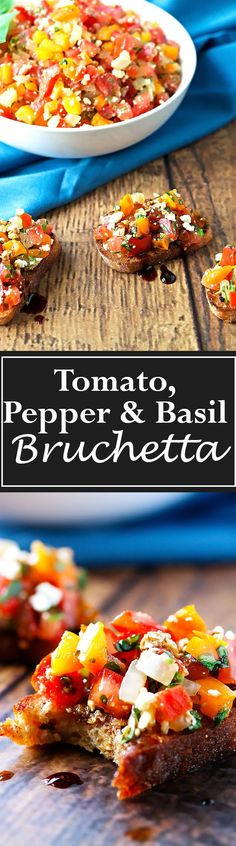 Sweet crunchy peppers mixed with plump, ripe tomatoes, onions, garlic, salty feta and fresh sweet basil all on top of little grilled or toasted bread slices and then drizzled in sweet and tangy balsamic reduction. Its fresh, fragrant, savory and light. #appetizer #summerappy
