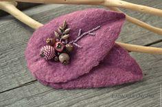 """Купить Войлочная брошь """"Листья"""". - брусничный, пепельно-розовый, брошь из войлока, брошь листик"""