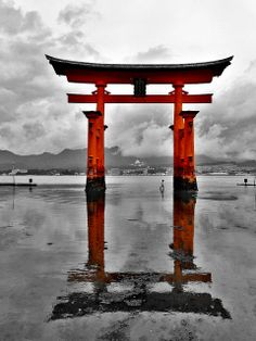 Torii gate of Itsukushima shrine, Japan gateways to other worlds Japanese Gate, Japanese Shrine, Japanese Landscape, Dojo, Torii Gate, Carpe Koi, Japon Illustration, Samurai Art, Japanese Art Samurai