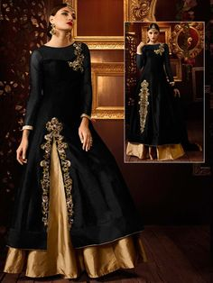Black And Golden Lehenga on art silk having golden zari work. Item code: GKE103A http://www.bharatplaza.com/new-arrivals/lehengas.html