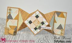 Beth's Beauties: Quilt themed double diamond fold birthday card using SVG Attic files, DCWV papers and Trendy Twine