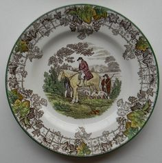 Spode Brown Transferware Plate Man on Horse Dogs Hunter Byron Hunt Scene