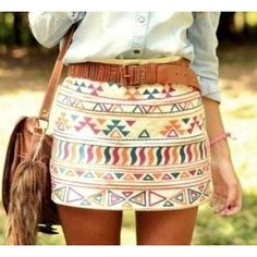 Tribal skirt / blue jean shirt / brown belt