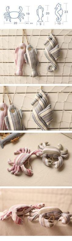 Vendas inteiras, estilo Mediterrâneo de vida Marinha em algodão e linho arte pano artigos de decoração pingente de caranguejo peixe em Sinos de vento & Decorações de Suspensão de Home & Garden no AliExpress.com | Alibaba Group