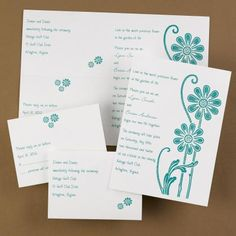 Chic Wedding Invitations. Are you looking for wedding stationery that is fun and whimsical? How about this invitation with fun blue flowers on a white background?