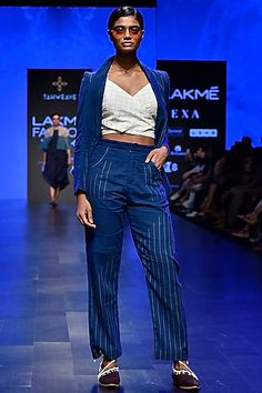 Tahweave Featuring an indigo jamdani pants in cotton base with white gradation. Western Outfits, Indian Outfits, Celebrity Closets, Indian Fashion Designers, Pernia Pop Up Shop, Designer Wear, Formal Wear, Summer Collection, Blazer Jacket