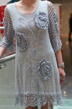 Crochet Blue Dress Chic Crochet lace Dress by CrochetDressTalita