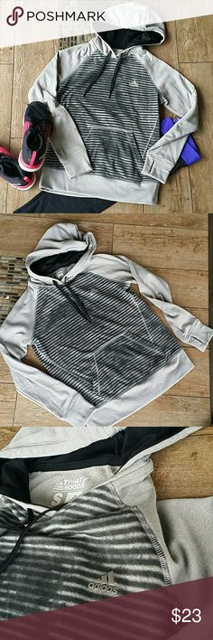 👟ADIDAS ULTIMATE HOODIE👟 ✴Gray somewhat silvery with black and gray edgy stripes ✴Hooded with strings ✴Thumbholes to keep sleeves in places ✴Kangaroo pouch ✴Inside hoodie is polyester ✴No rips, stains or pilling ✴Smoke free home Adidas Tops Sweatshirts & Hoodies