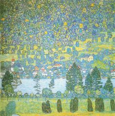 """Unterach on Lake Attersee"" in 1916 by Gustav Klimt."