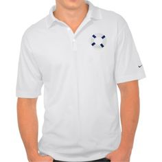 Blue and White Life Preserver Nike Polo Shirt.  Crush every stroke, swing, and chip with the Nike Dri-FIT pique polo shirt. Made with 100% polyester Dri-FIT fabric, this lightweight shirt provides comfort and coolness all day during your favorite outdoor activity. Fits true to size.