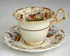 Early c 19th H& R DANIEL Hand Painted SHREWSBURY Cup & Saucer Pattern