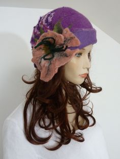 Effortlessly chic lagenlook funky purple boiled wool classic cloche style ladies hat   NEW by whitebagheera on Etsy