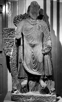 """Miracle of Sravasti From Khum Zargar, Afghanistan grey schist H: ca. 59"""" Date: ca. 3rd - 4th century Kabul Museum, Kabul Photograph taken in 1970"""