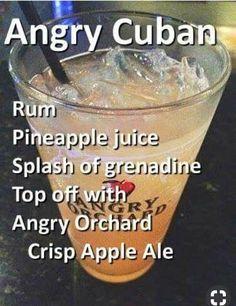 1 oz of Clear Rum 2 oz Pineapple Juice Big Splash of Grenadine Fill with… 1 oz of Clear Rum 2 oz Pineapple Juice Big Splash of Grenadine Fill with Angry Orchard Hard Cider Beer - Fresh Drinks Liquor Drinks, Cocktail Drinks, Alcoholic Drinks, Beer Mixed Drinks, Drink Beer, Refreshing Drinks, Yummy Drinks, Alcohol Drink Recipes, Bartender Recipes