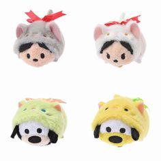 Disney TSUM TSUM Plush Toy Cat Series Set of 4 Mickey Minnie Goofy Pluto Japan