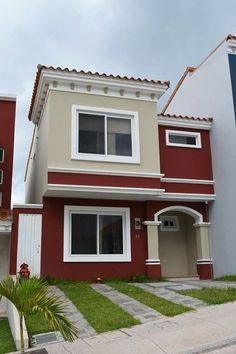 House painting outside House Outside Design, House Front Design, House Color Palettes, Attic House, Exterior Paint Colors For House, Bungalow House Design, Modern House Plans, House Layouts, House Painting