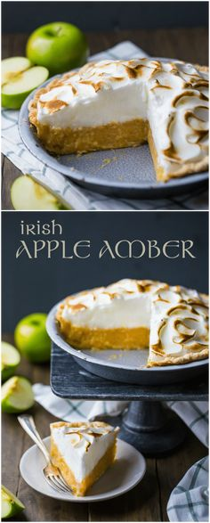 Celebrate St. Patrick's Day with this authentic Irish Apple Amber!  It's a traditional dessert in Ireland, made with shredded apples cradled in a buttery crust and topped with airy meringue. #irish #apple #desserts #pie #meringue #stpatricksday #ideas #stpattys via @bakingamoment