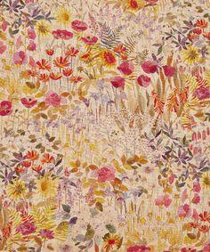 Liberty Art Fabrics Floral Clay Linen Union Cushion In Wood Fairy