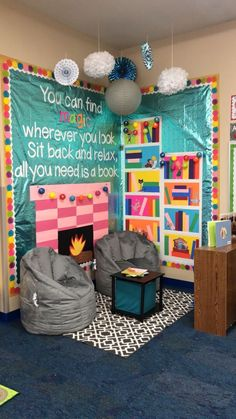 Classroom - This cozy reading corner would look perfect in a school library or classroom reading schoollibrary Reading Corner Classroom, Classroom Setting, Classroom Design, Classroom Displays, Future Classroom, Classroom Organization, Kindergarten Classroom Setup, Kindergarten Reading Corner, Elementary Classroom Themes