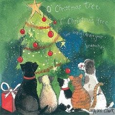 Alex Clark Charity Christmas Cards Cats & Dogs Christmas Tree Pack of 5 + 1 Free Alex Clark Card with every order